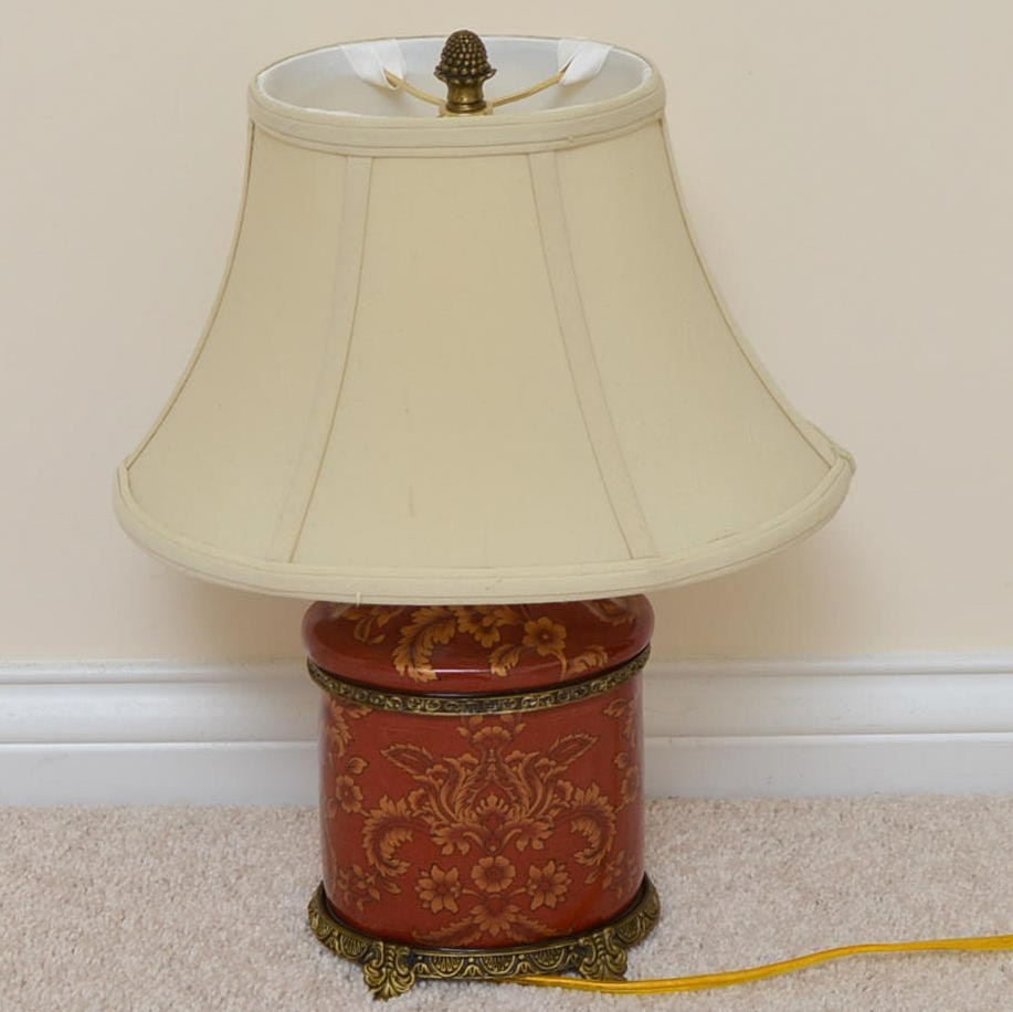 Canister Style Red Ceramic Table Lamp