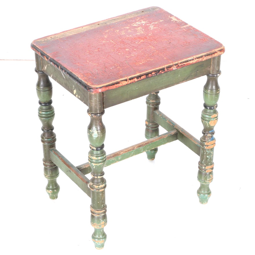Vintage paint decorated accent table or stool ebth for 12 x 12 accent table