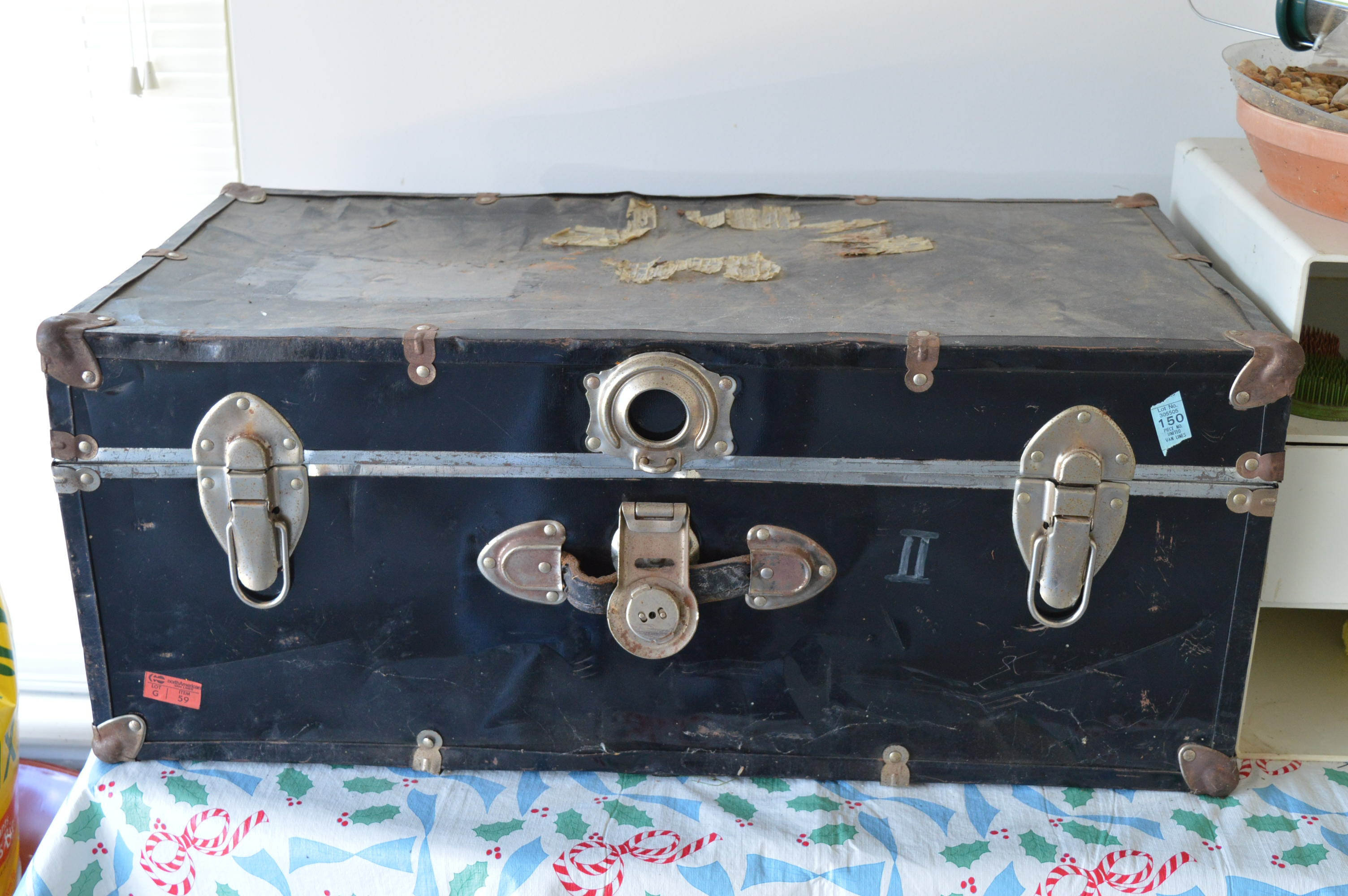 Antique Foot Locker Trunk with Wood Lined Interior