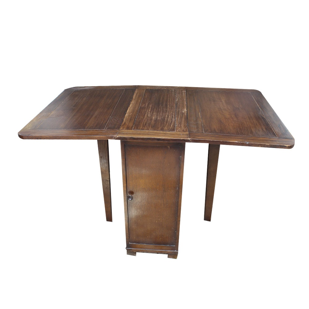 Bon Vintage Drop Leaf Gateleg Table With Interior Shelves ...