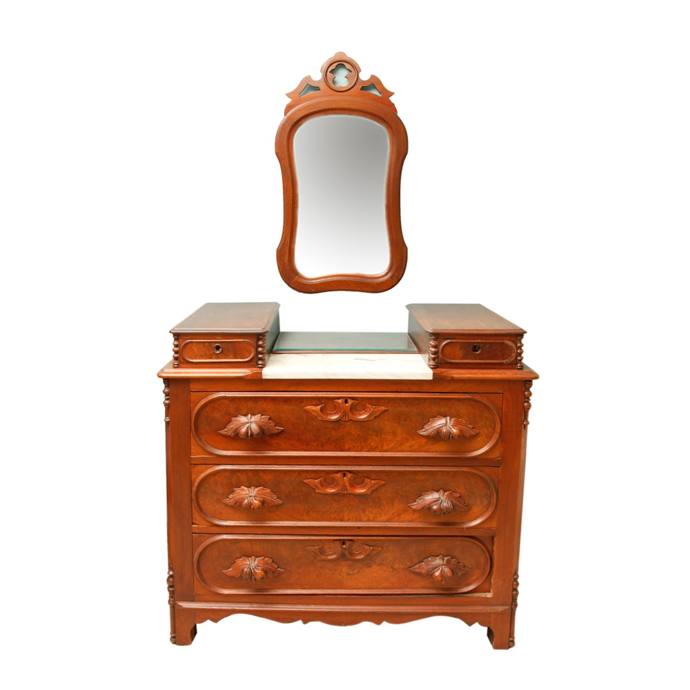 Victorian Style Vanity Dresser With Mirror