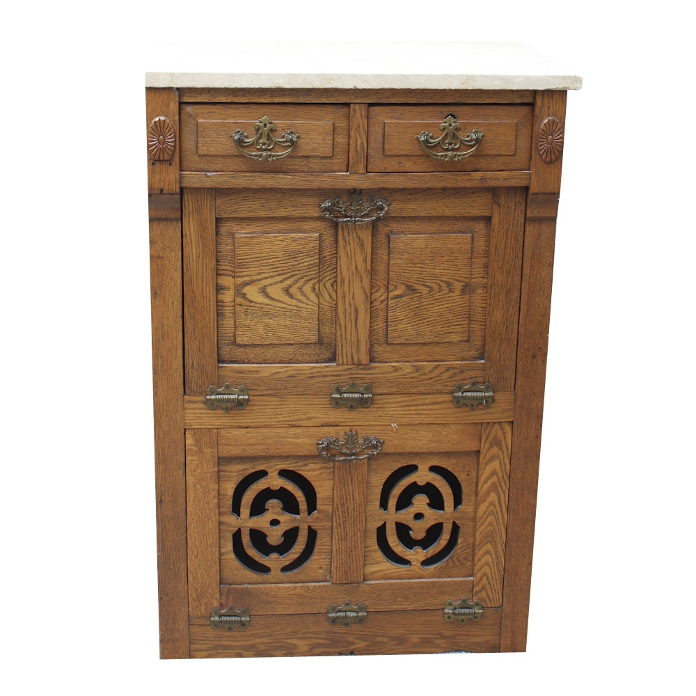 Antique Oak Marble Top Barber Shop Cabinet
