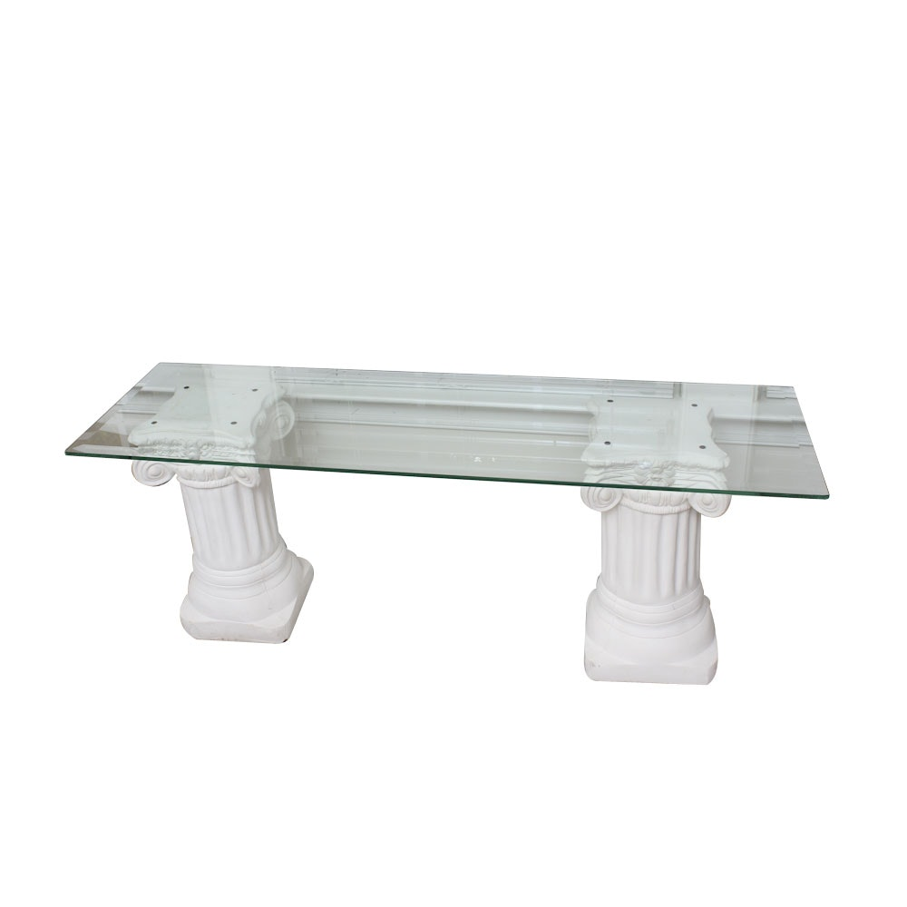 Glass Top Sofa Table with Classical Column Stands