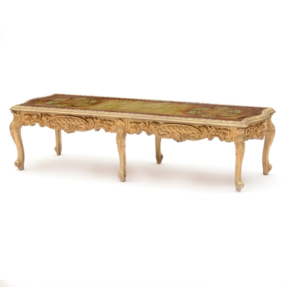 Ornate Gold Tone Reverse Painted Glass Coffee Table ...
