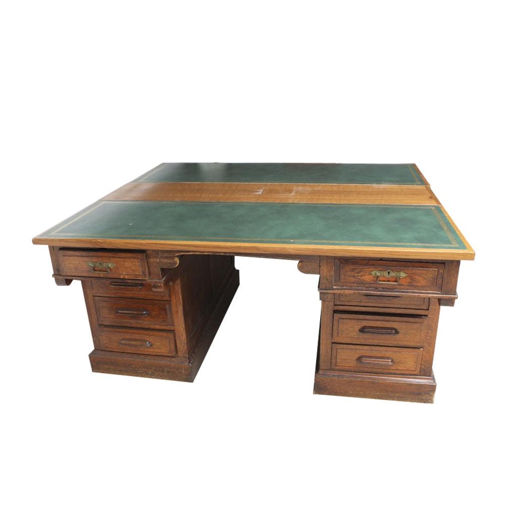 Early 20th Century Oak Leather Top Partners' Desk