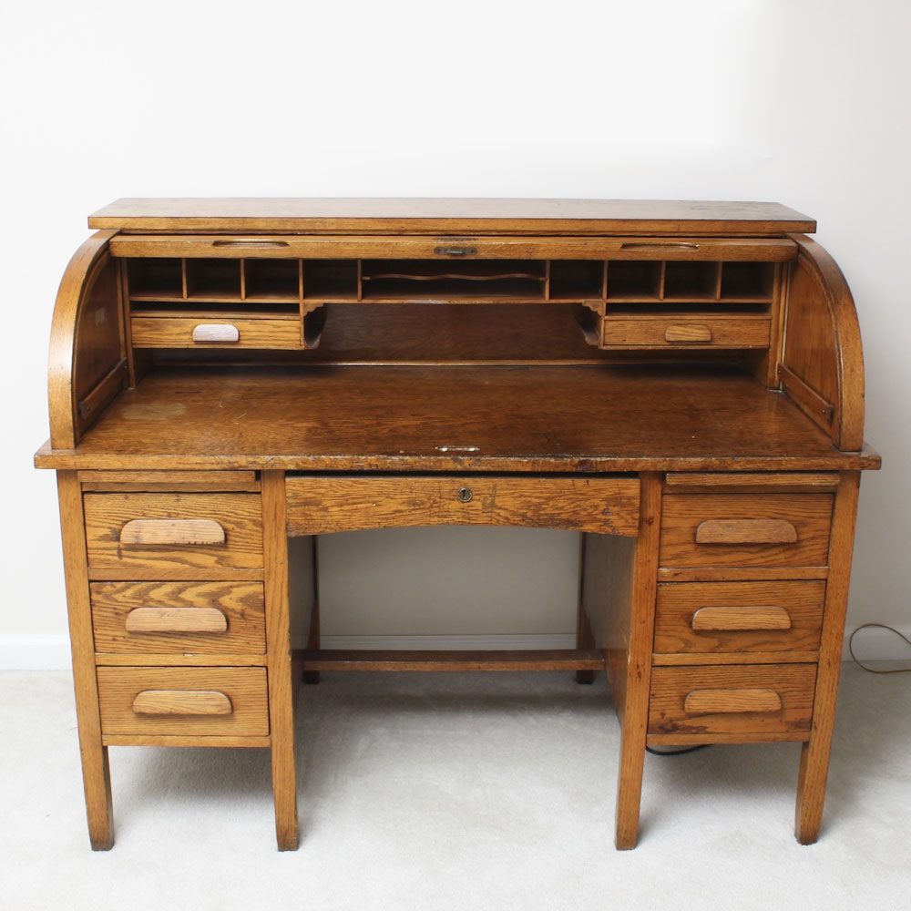 Early 20th C. Oak Roll Top Desk