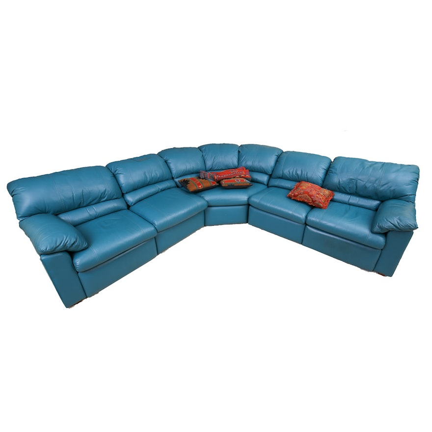 Jade-Green Leather Sectional Sofa by Bradington Young : EBTH
