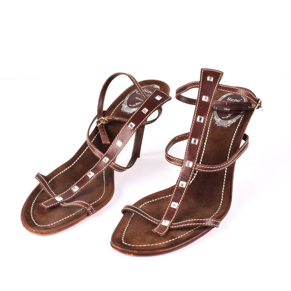 "René Caovilla ""Venezia"" Brown Leather Rhinestone Gladiator Heels"