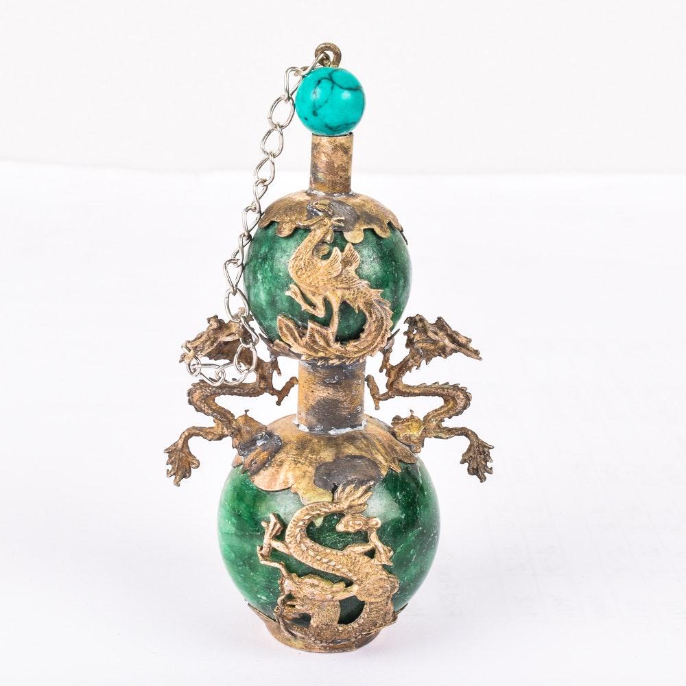 Antique Tibetan Green Marble and Brass Snuff Bottle