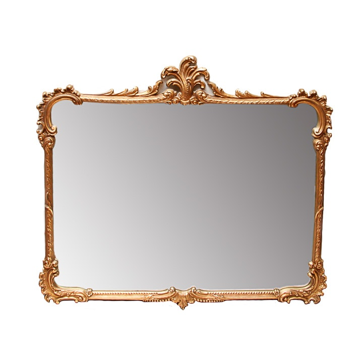Wall Mirror With Carved Gold Tone Frame