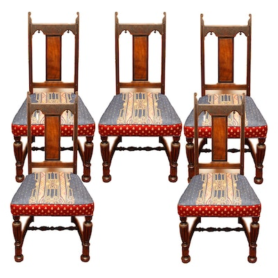 Vintage Jacobean Style Dining Side Chairs