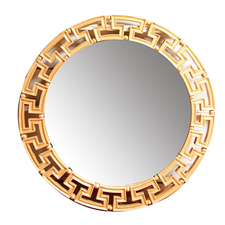 Greek Key Round Wall Mirror