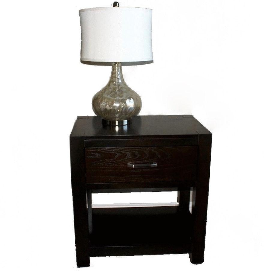 Broyhill mercury glass table lamp - Broyhill Nightstand With Mercury Glass Table Lamp