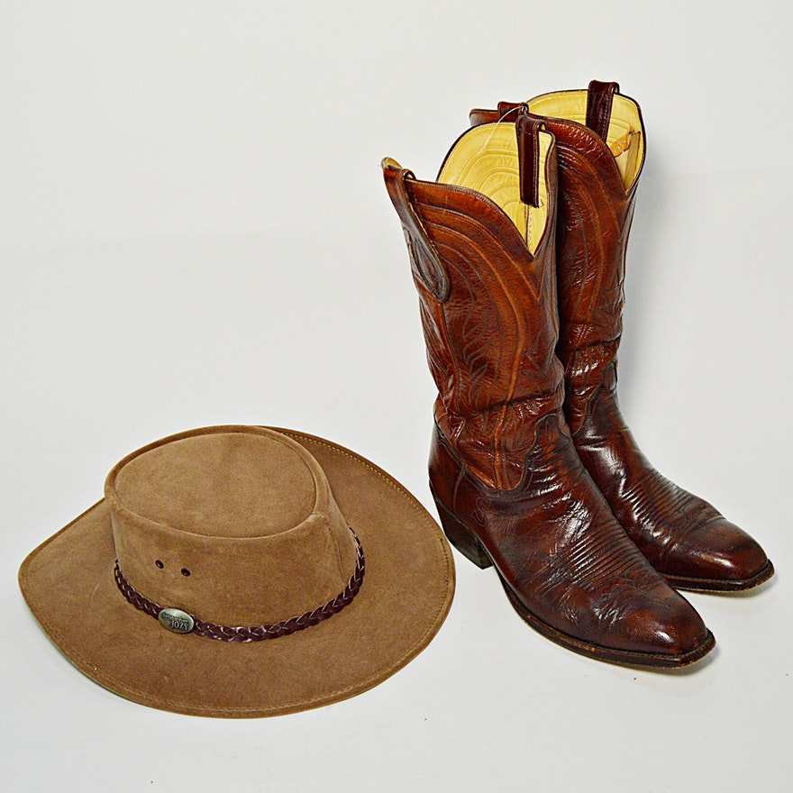 370696d0dc1 Handmade Brown Leather and Reptile Cowboy Boots