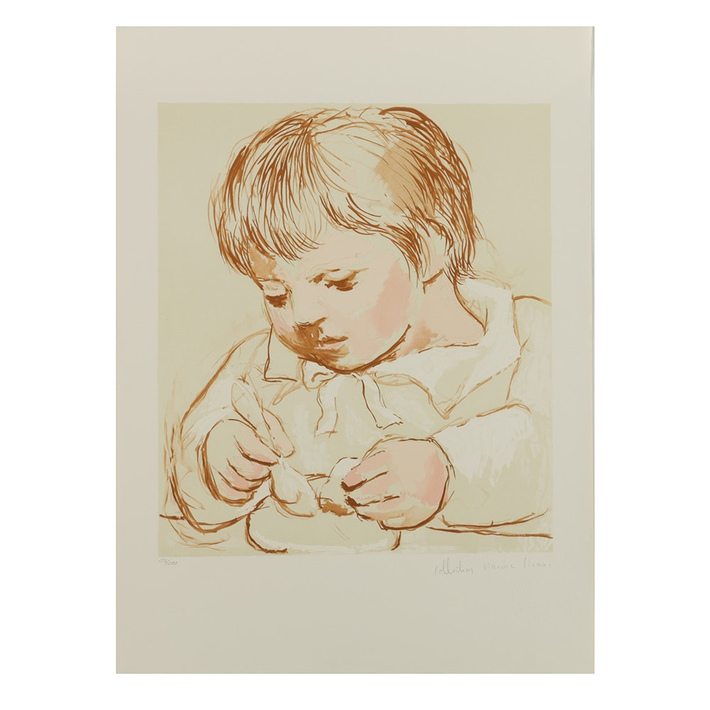 "After Pablo Picasso Limited Edition Lithograph on Arches Paper ""Enfant Dejeunant"""