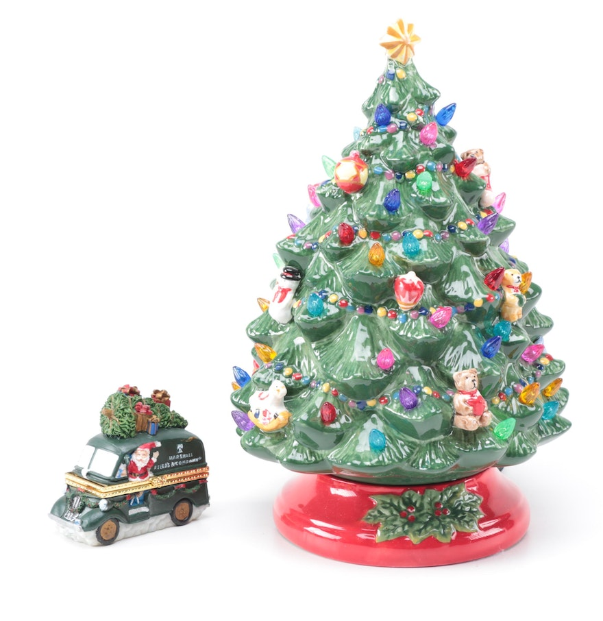 Christopher radko ceramic christmas tree lamp and trinket for Christmas tree in a box