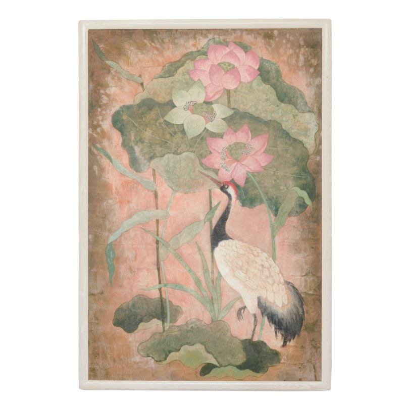 Painting on Board of Crane and Lotus Flowers