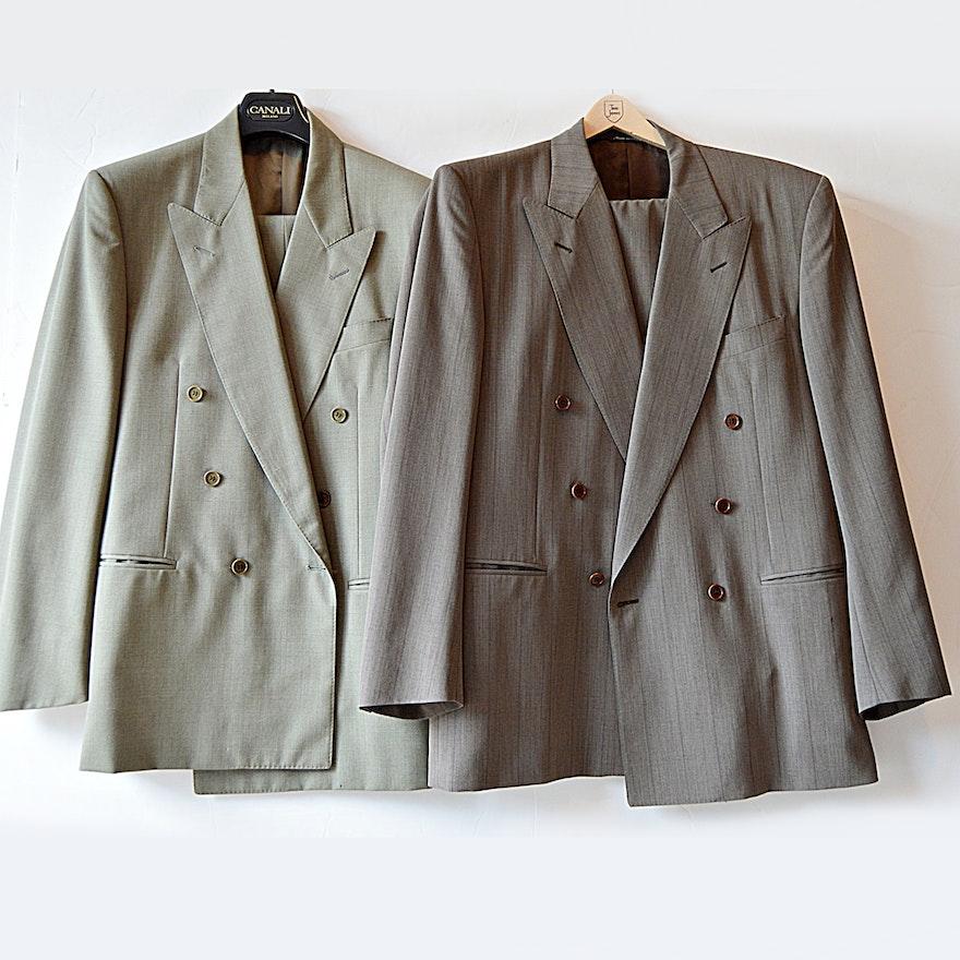 4da70872029 Two Italian Canali Wool Suits , 40R : EBTH
