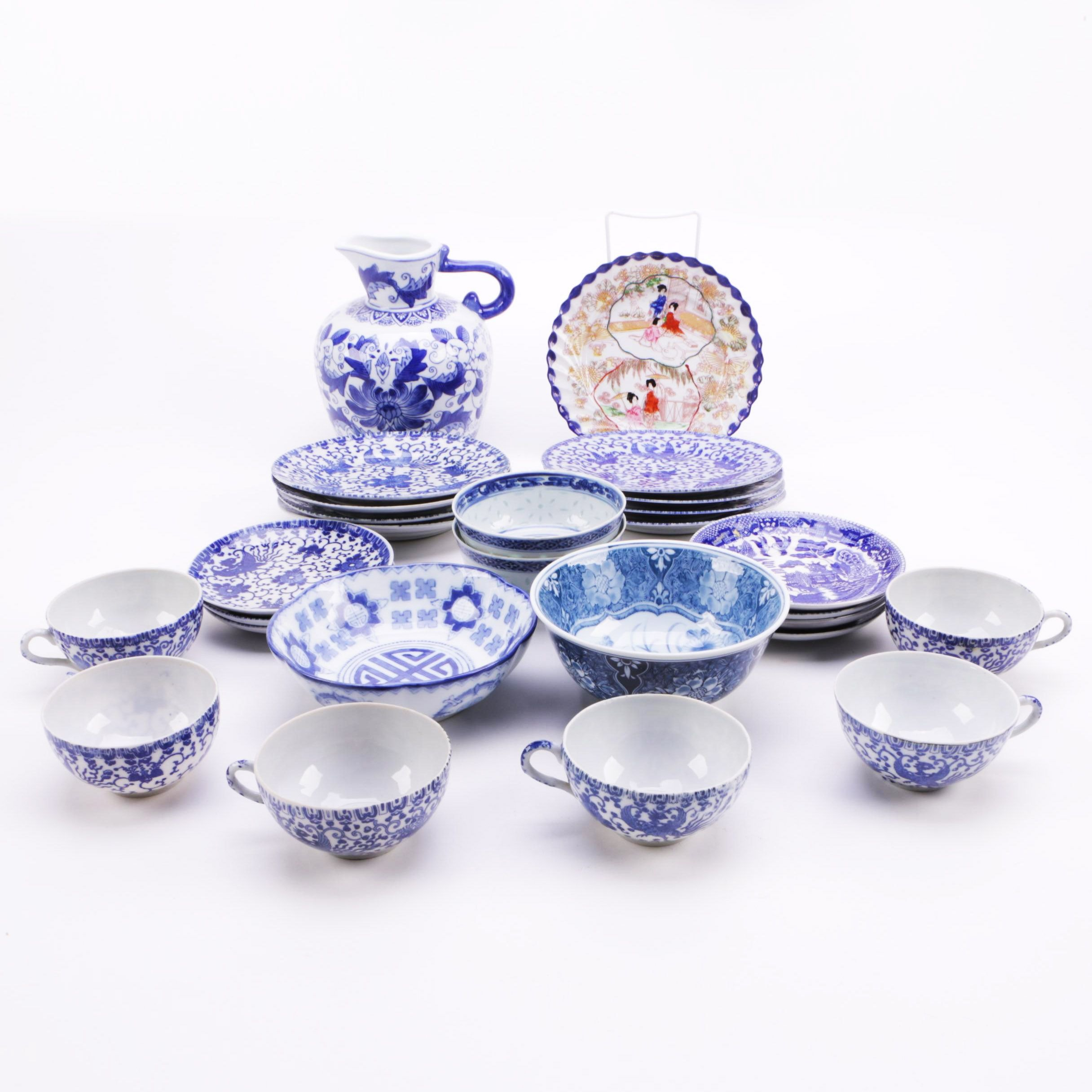 Vintage Chinese and Japanese White and Blue Ceramic Tableware