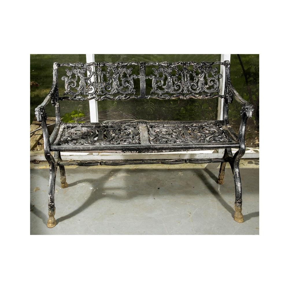 Ornate Wrought Iron Garden Bench ...