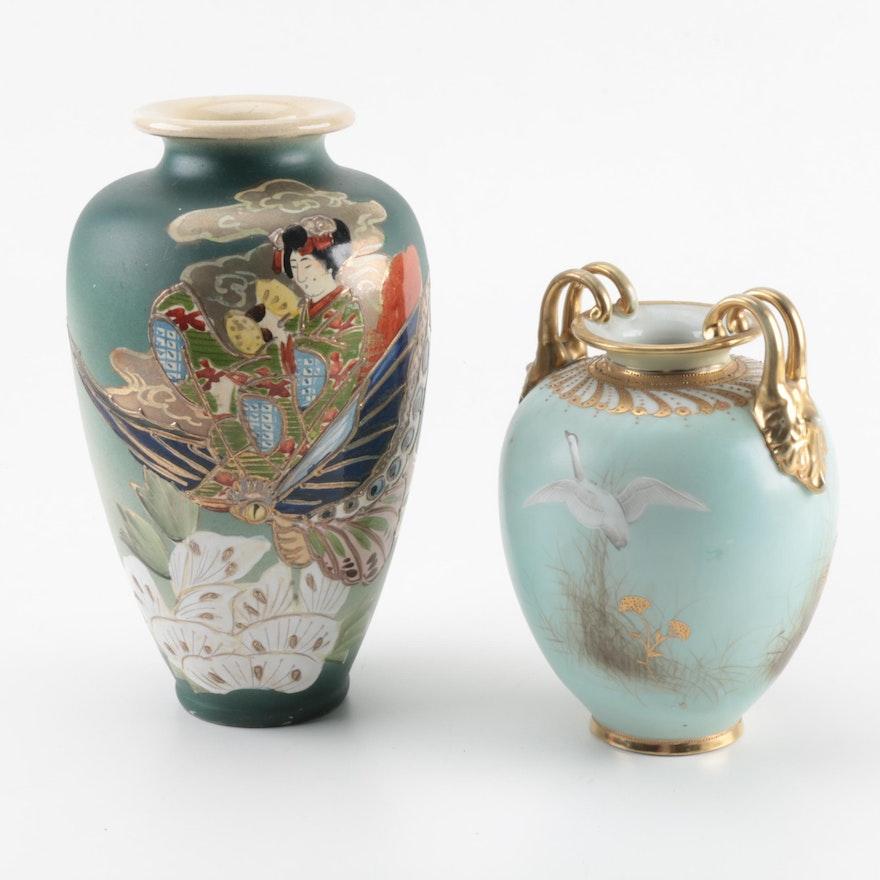 Japanese Ceramic Floor Vases Including Nippon Ebth
