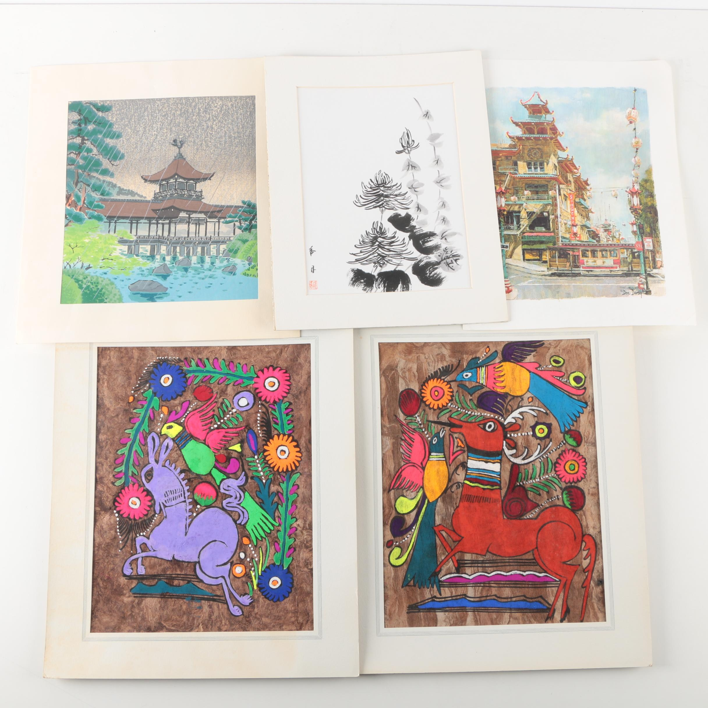 A Collection of Vintage Mexican Paintings, Japanese Prints