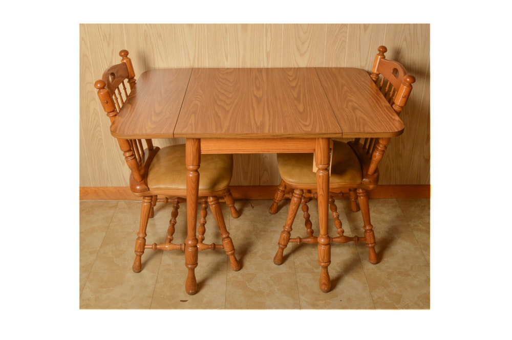 Dinaire Oak Laminate Drop Leaf Table With Chairs