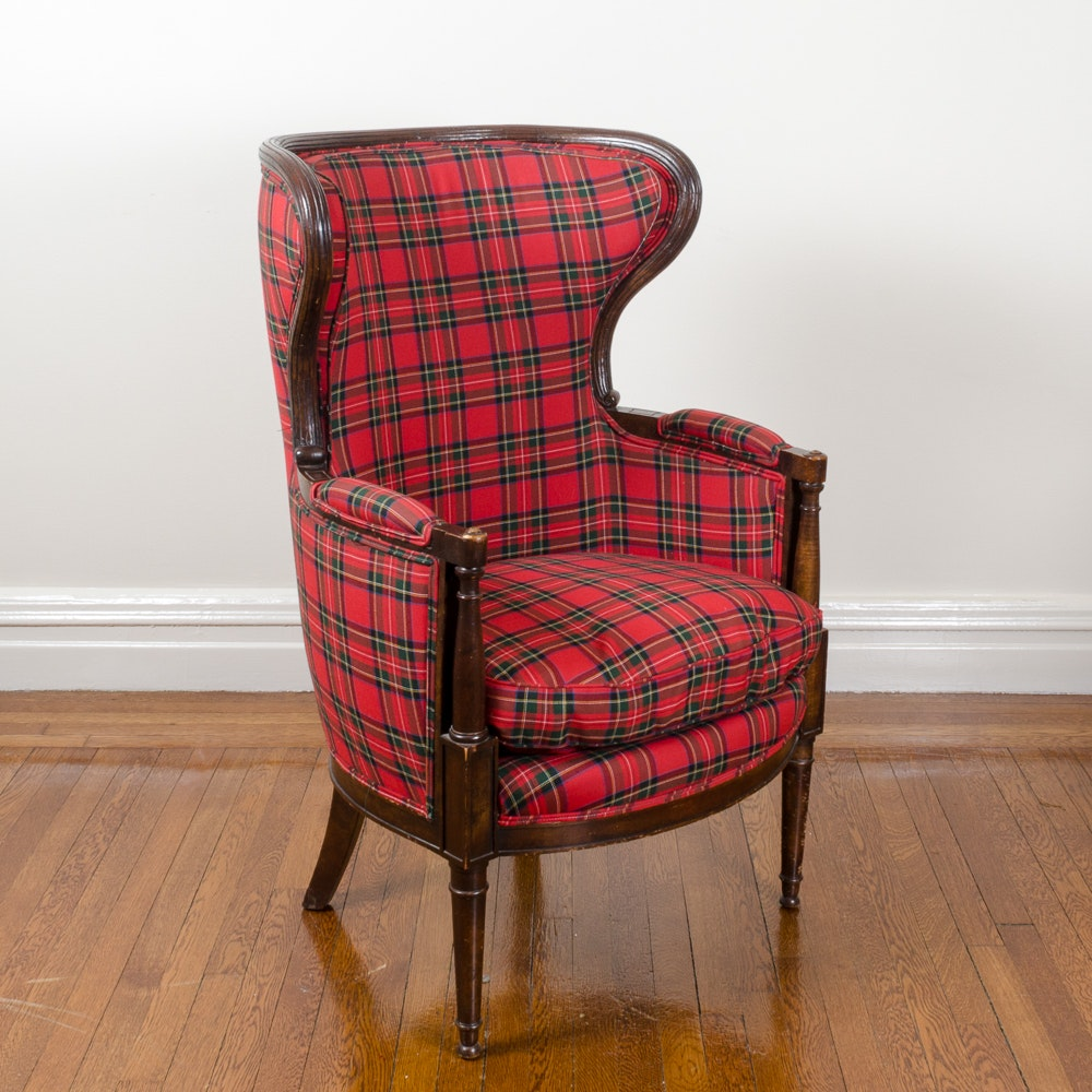 Plaid Upholstered Wingback Arm Chair ...