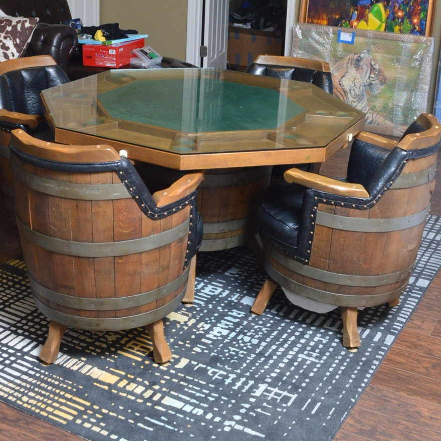 Barrel Table And Chairs For Sale: Vintage Octagonal Oak Game Table With Barrel Armchairs : EBTH