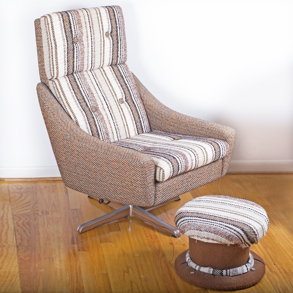 Mid-Century Norwegian Striped Armchair With Footstool