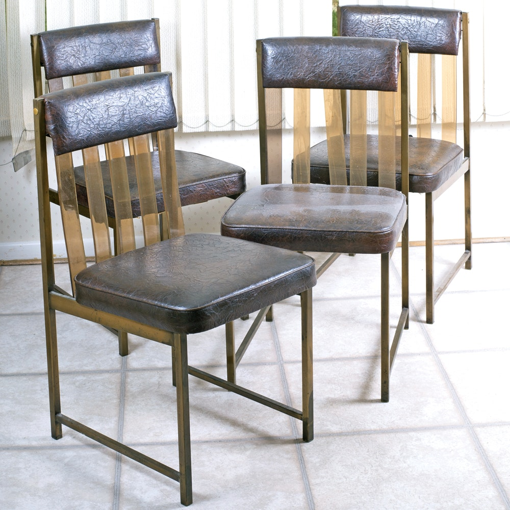 1970s Daystrom Lucite Slatted Back Side Chairs