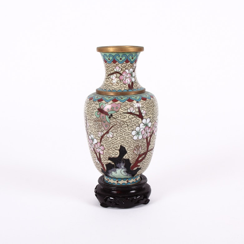 Vintage Chinese Cloisonné Vase with Stand