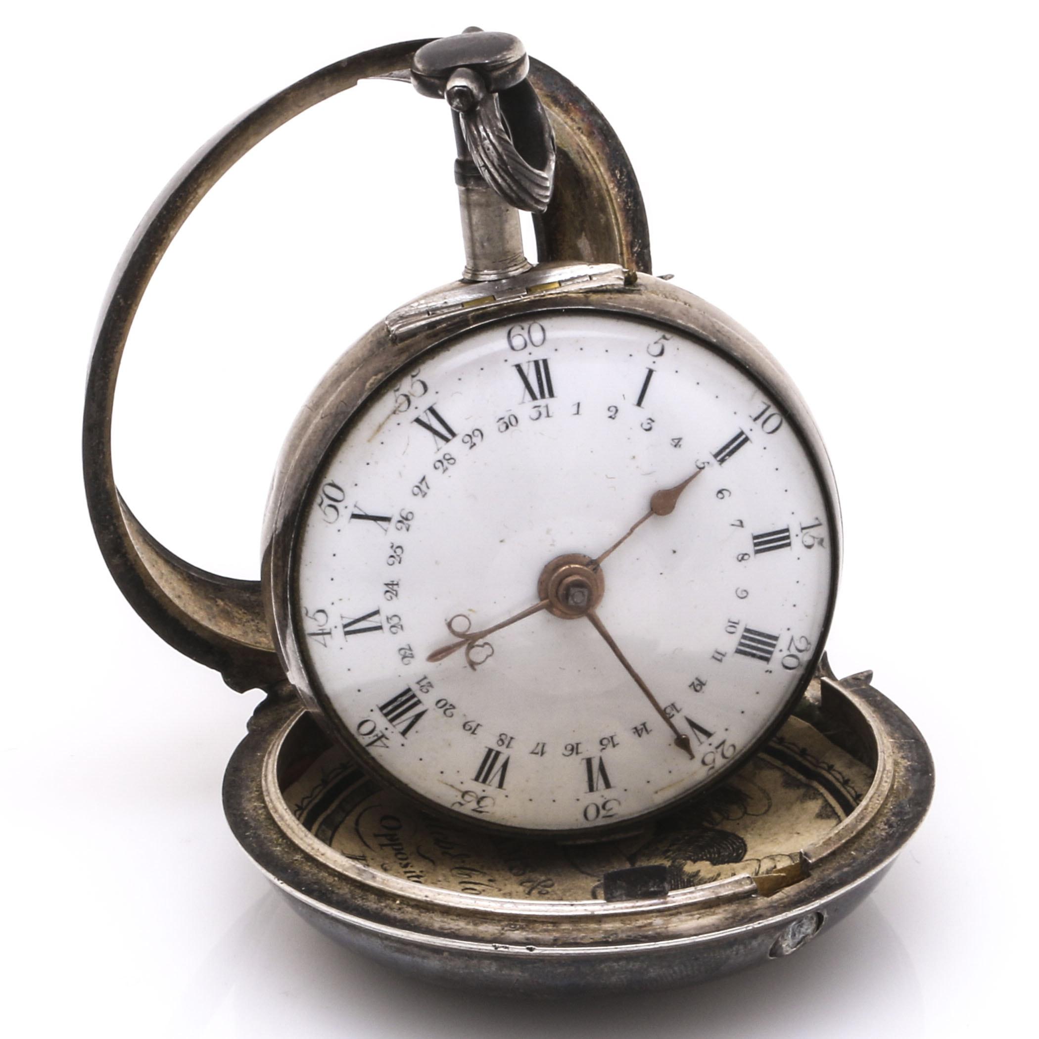 18th c. Thomas Wagstaffe Silver Pocket Watch With Diamond Jewel