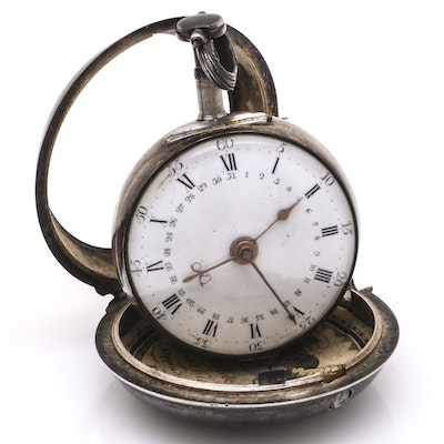 18th c. Thomas Wagstaffe Silver Pocket Watch With Diamond Jewel
