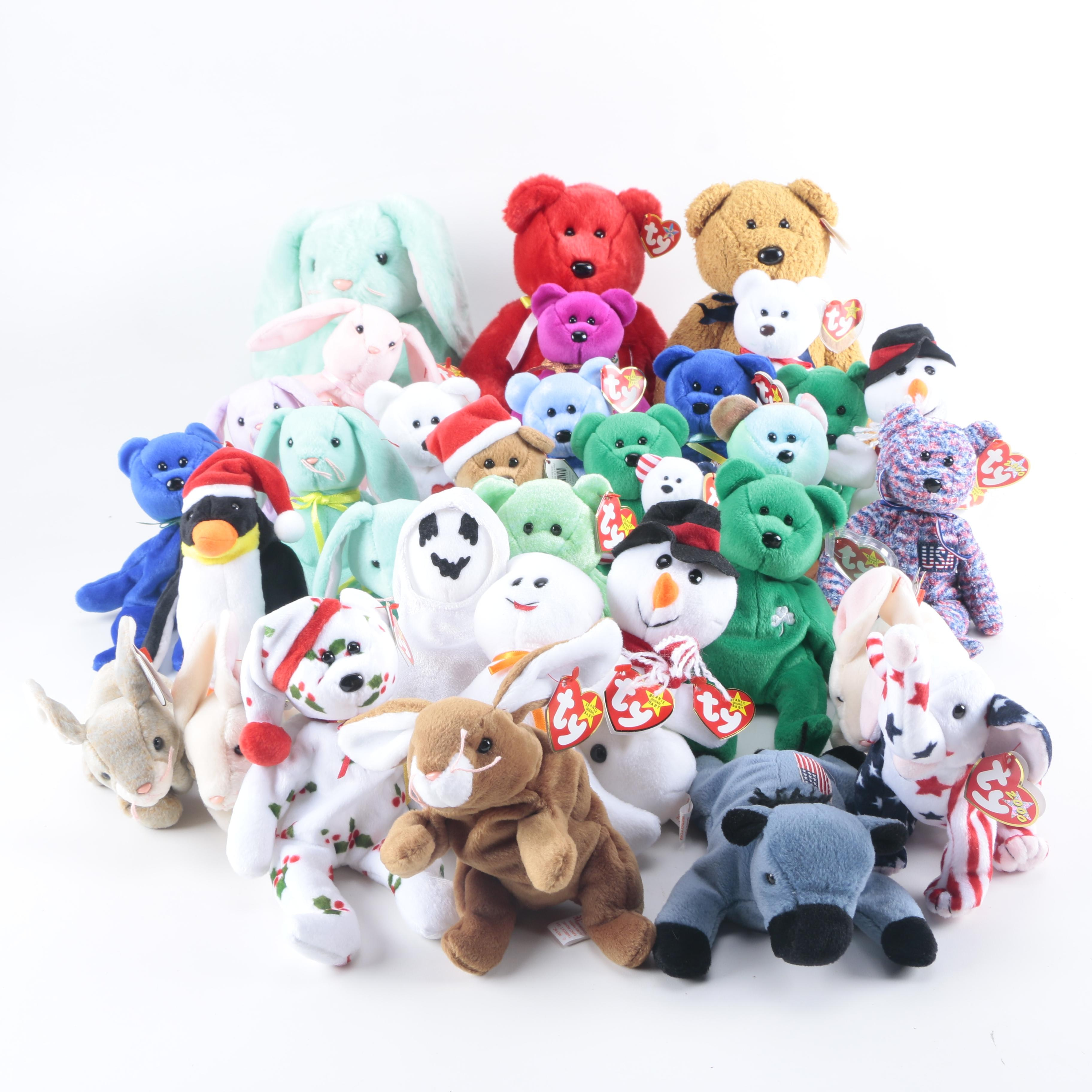 Ty Beanie Babies Including Clubby the Bear and Lefty the Donkey