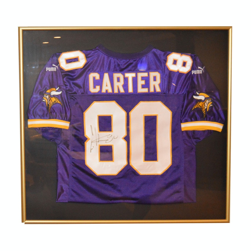 100% authentic cfbac 3c4ed Autographed and Framed Cris Carter Minnesota Viking's Jersey