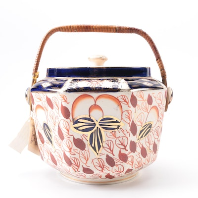 1930s Arthur Wood & Son Octagonal Imari Biscuit Barrel