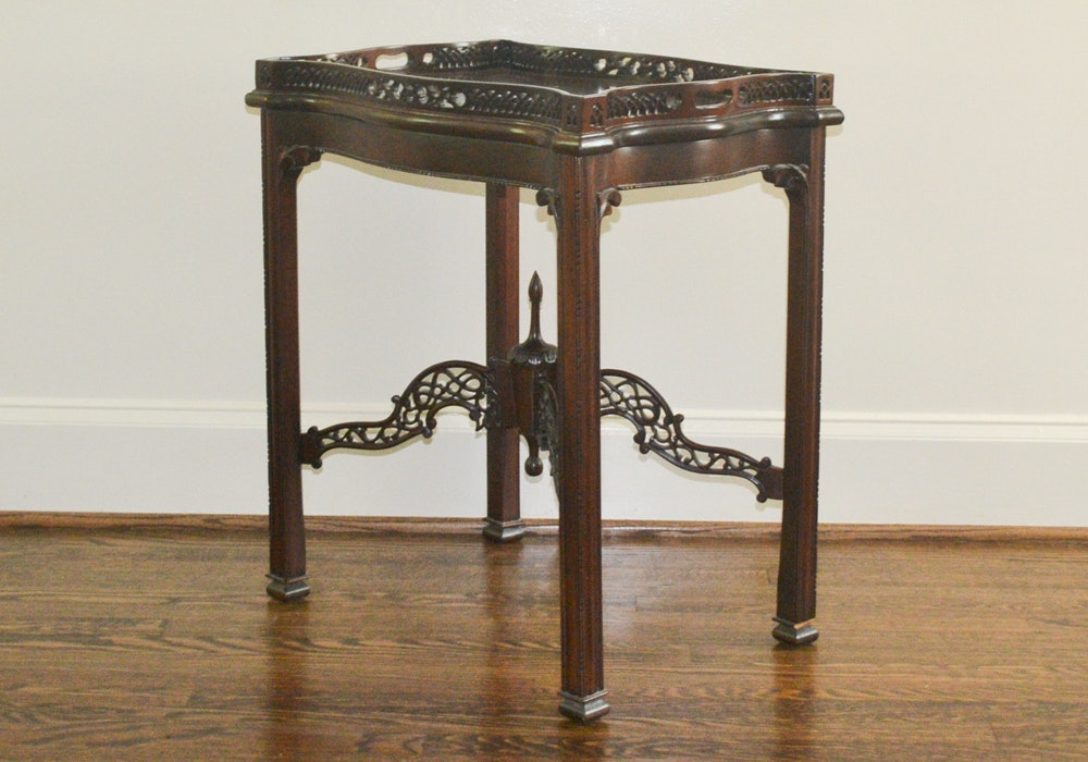 Vintage Chinese Chippendale Style Side Table With Tray Top