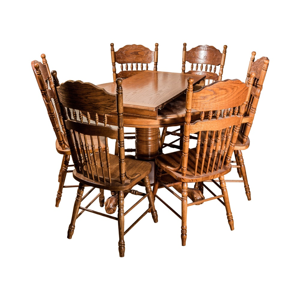 Pedestal Base Round Dining Table and Chairs Set