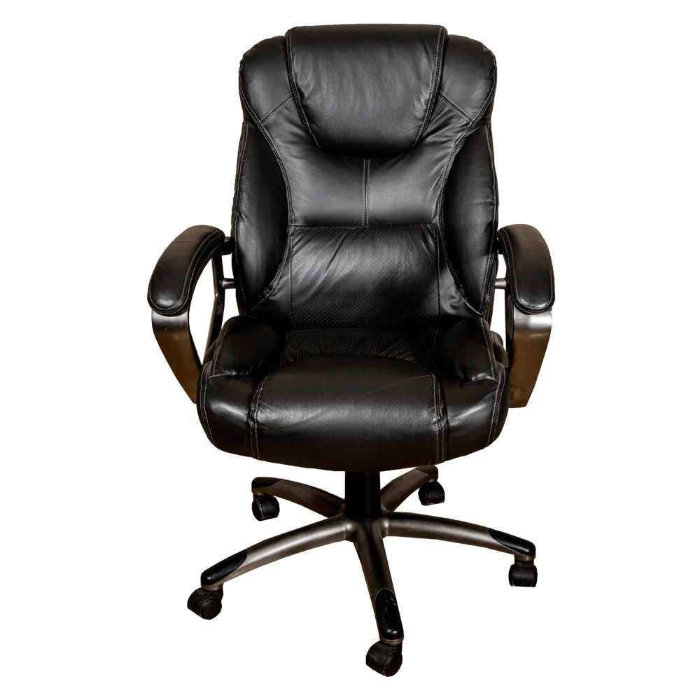 Contemporary Black Leather Rolling Armchair