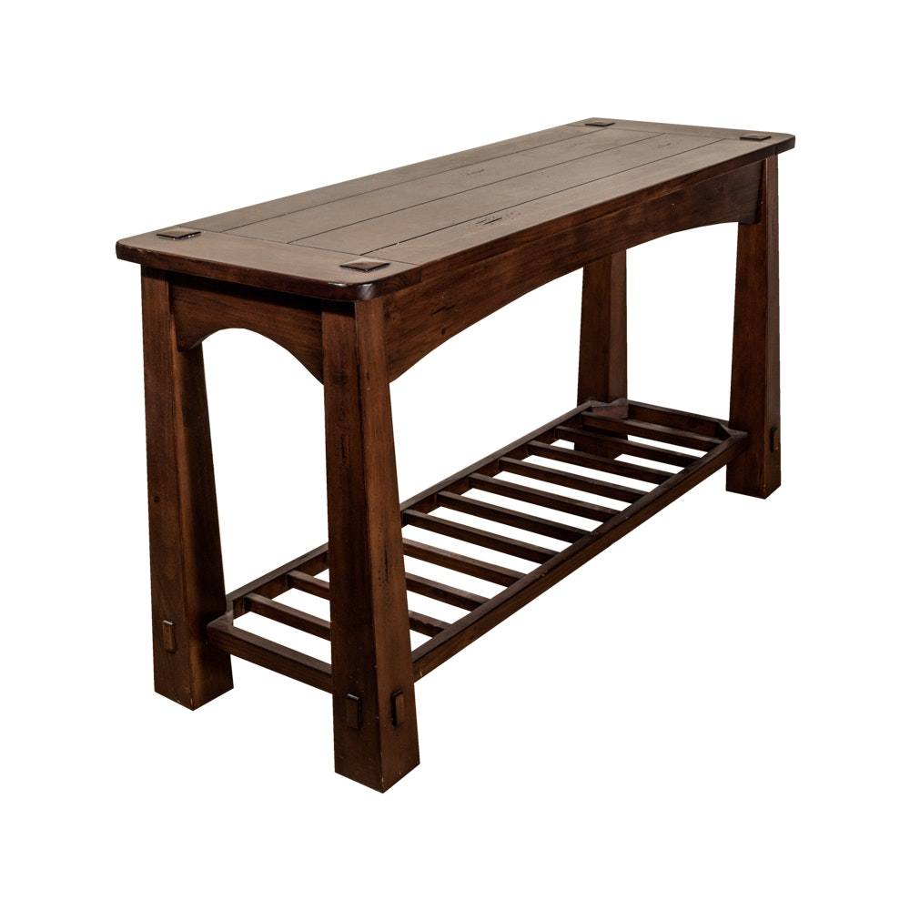 Arts and Crafts Style Walnut Stained  Console Table