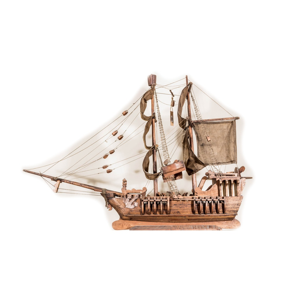 Carved Wood Sailing Ship Miniature