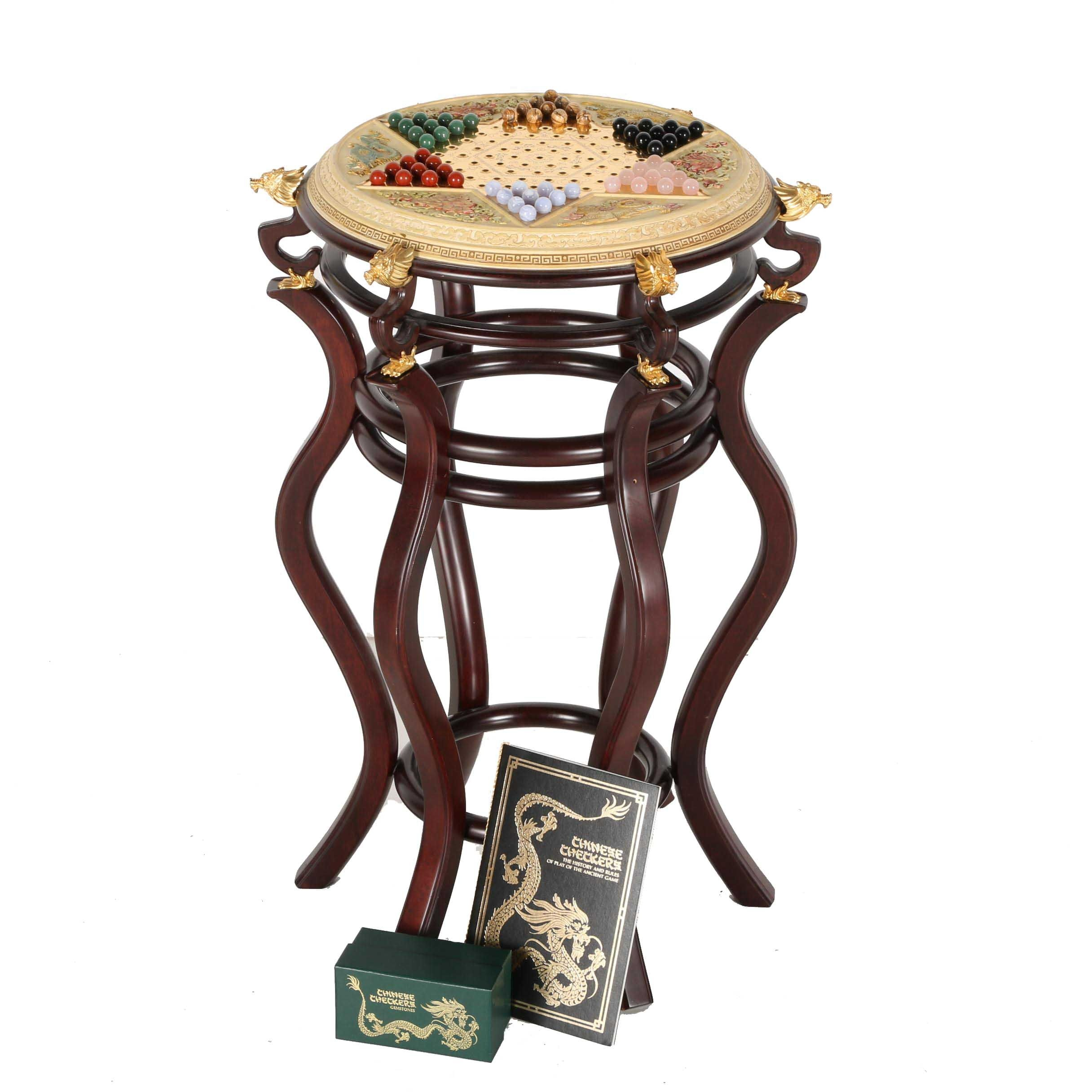 Elaborate Chinese Checkers Game Table With Semi Precious Stone Pieces ...