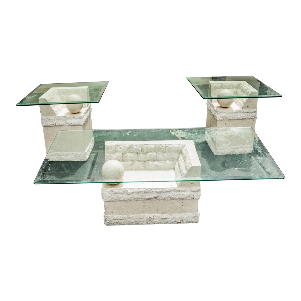 Three Artistic Tables With Pedestal Bases and Glass Tops