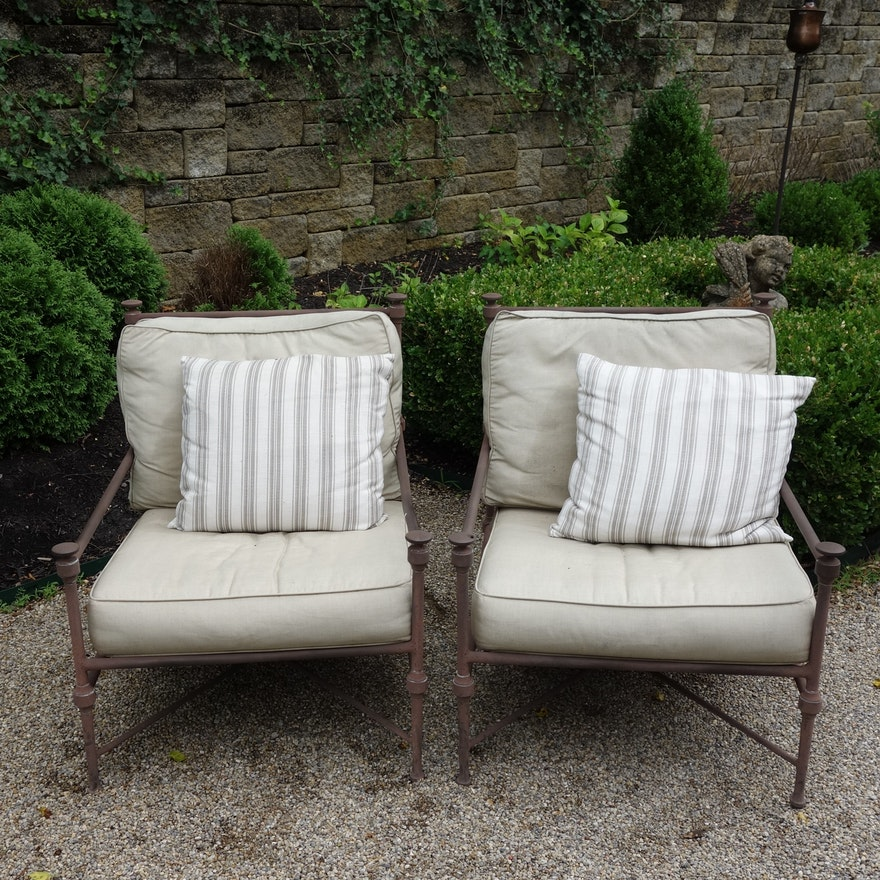 Restoration Hardware Catalina Cast Metal Patio Lounge Chairs Ebth