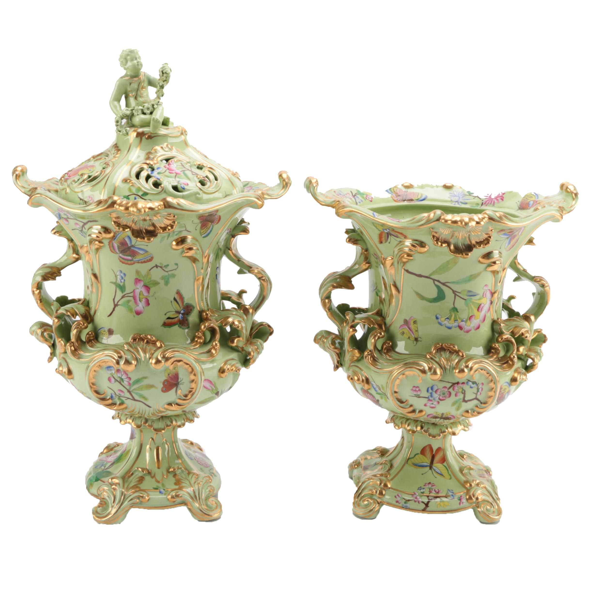 Hand Painted Porcelain Urns