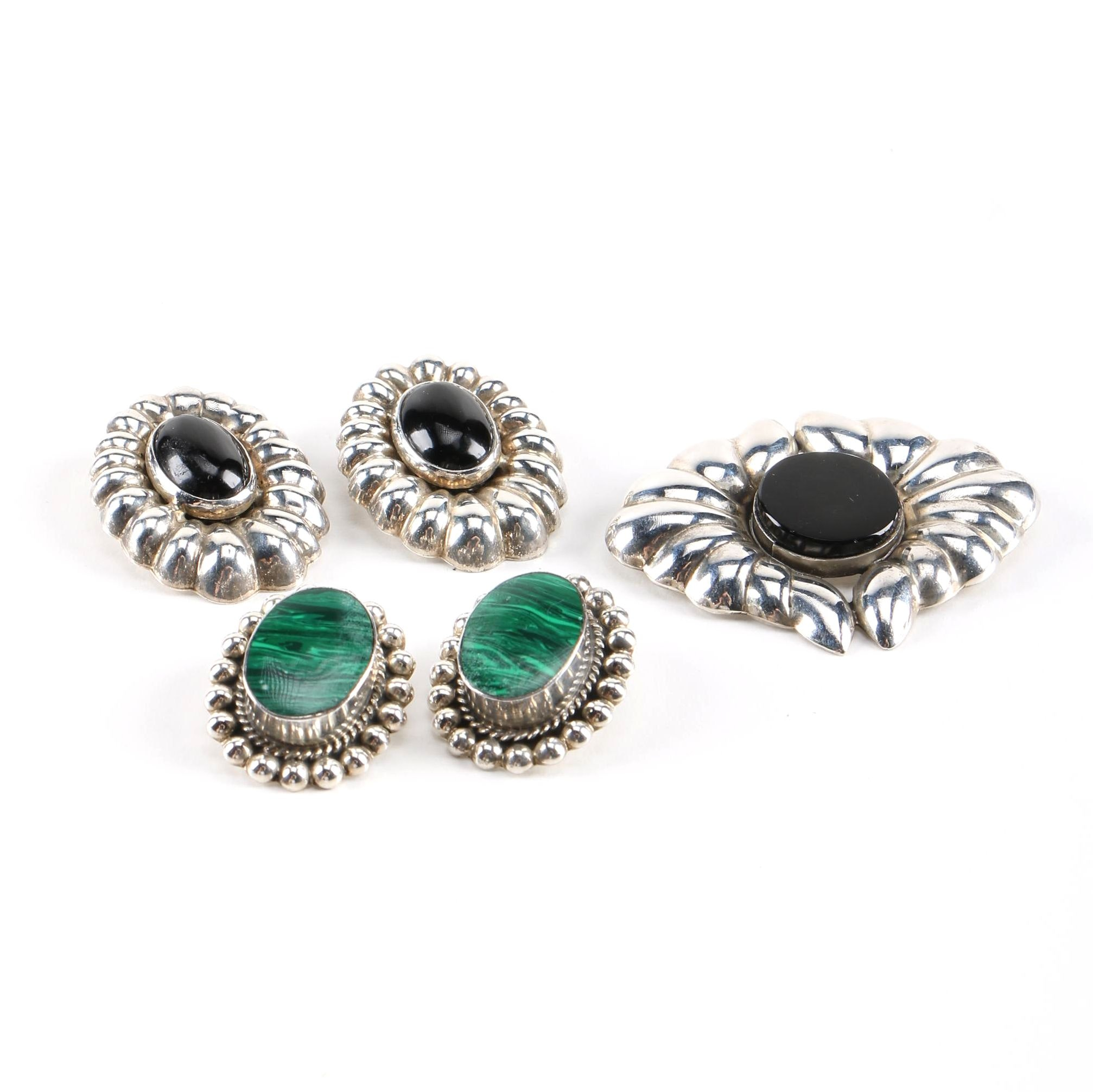Sterling Silver Taxco Earrings and Brooch