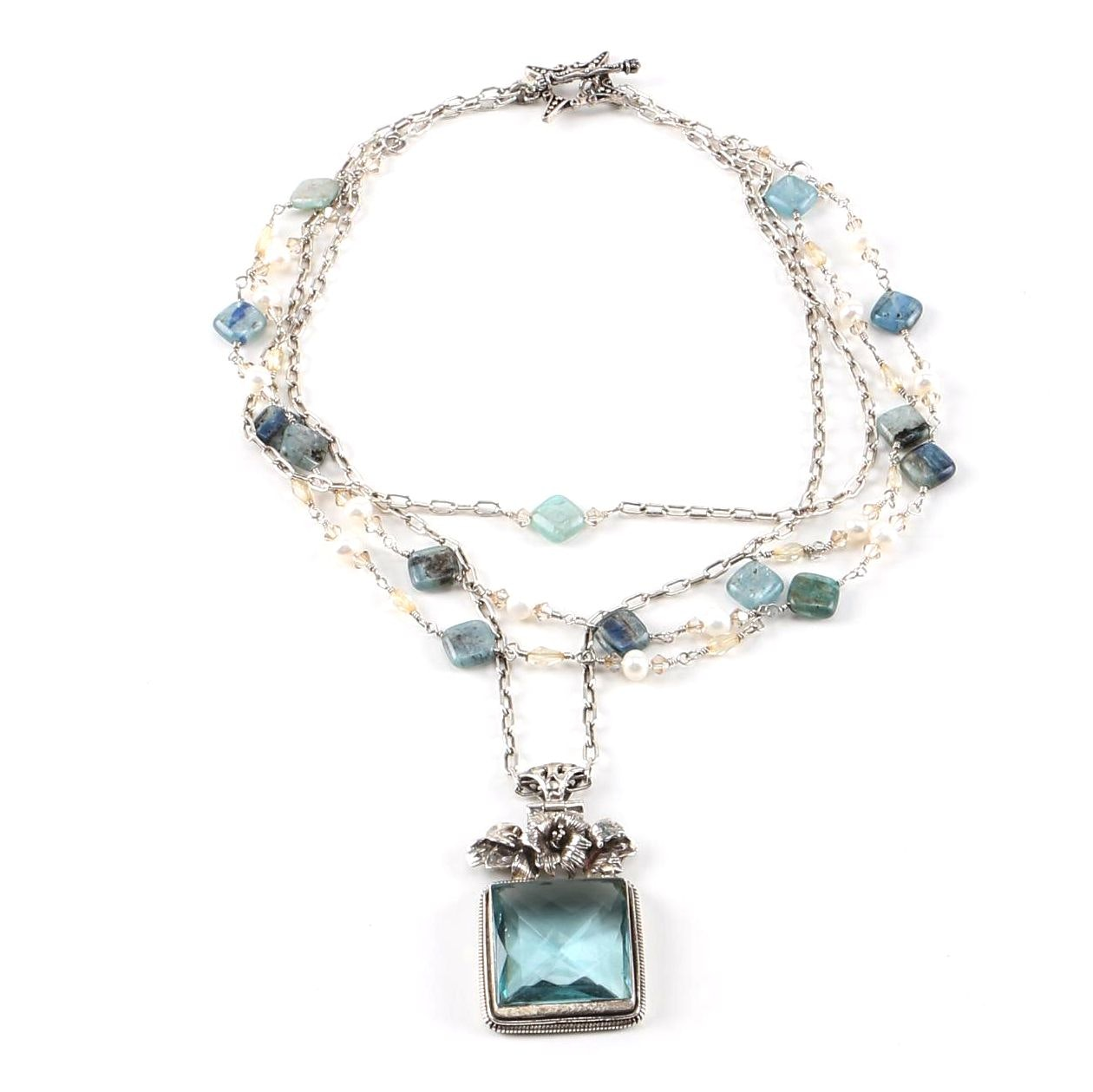 Sterling Silver Kyanite Cultured Pearl and Glass Necklace