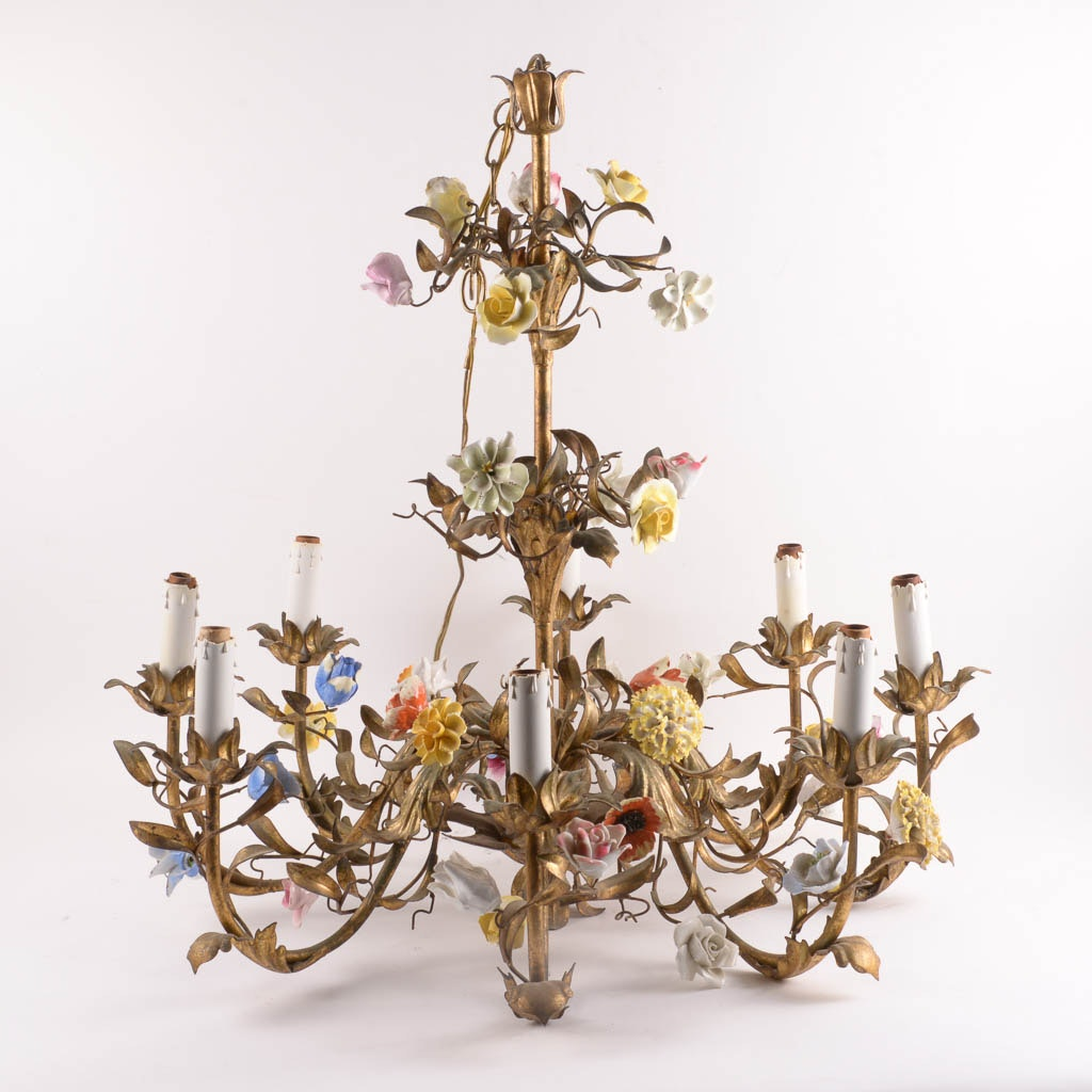 Eight Light Fixture Brass Chandelier With Porcelain Flower Accents