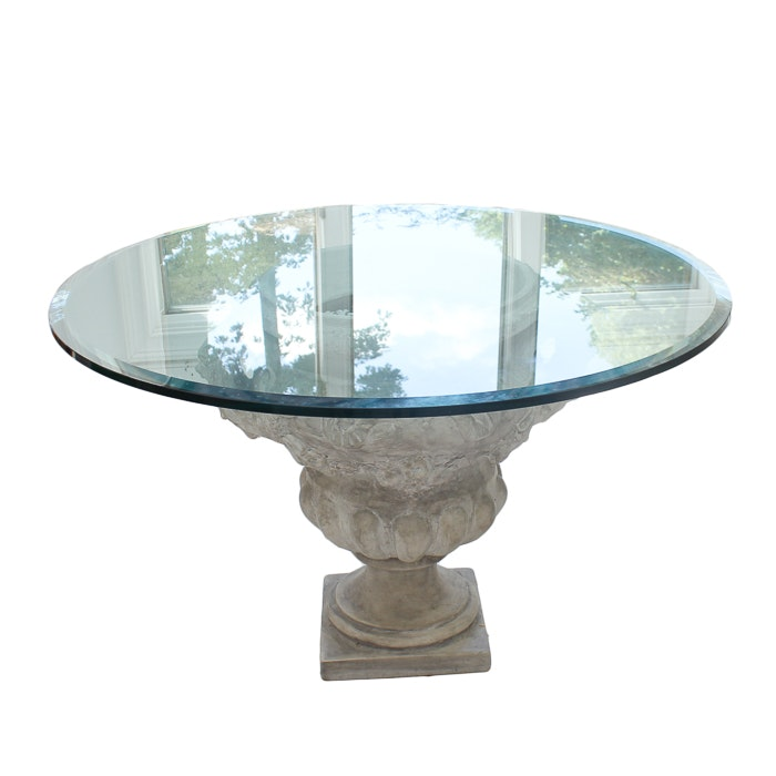 Grecian Inspired Pedestal Table With Glass Top